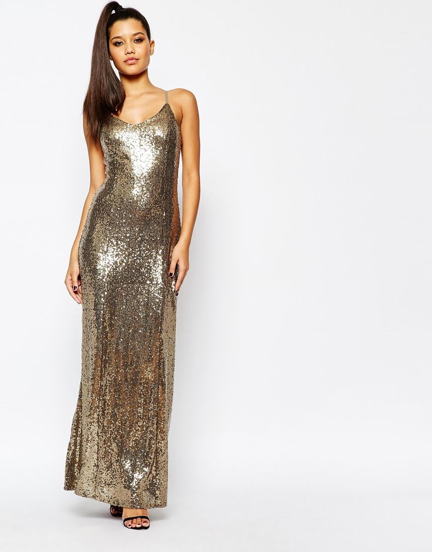 Missguided strappy glitter sequin maxi dress les vetements