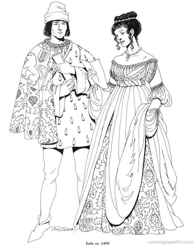 Renaissance Costumes And Clothing Coloring Pages 15 Renaissance