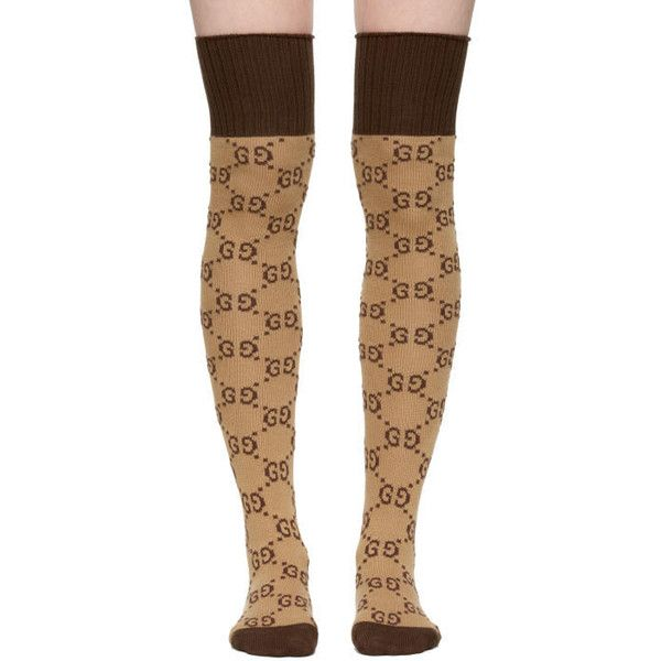 82003d6ae Gucci Beige and Brown GG Supreme Stockings (805 BRL) ❤ liked on Polyvore  featuring beige and gucci