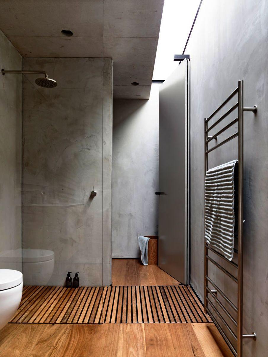 modern bathroom \/\/ oversized tiles \/\/ gray \/\/ white | Salles ...