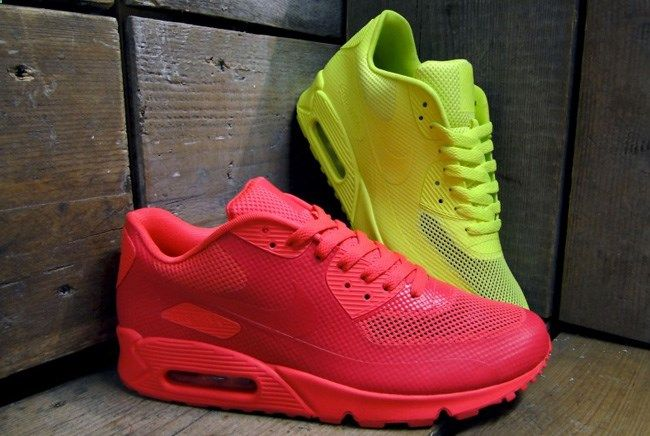 nike air max 90 hyperfuse - solar red & volt yellow and black