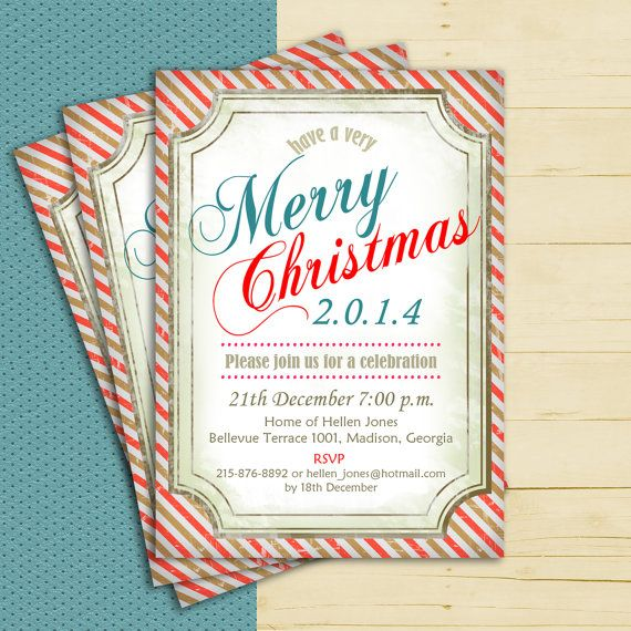 Christmas Invitation / Holiday Invite / by TheStarDustFactory