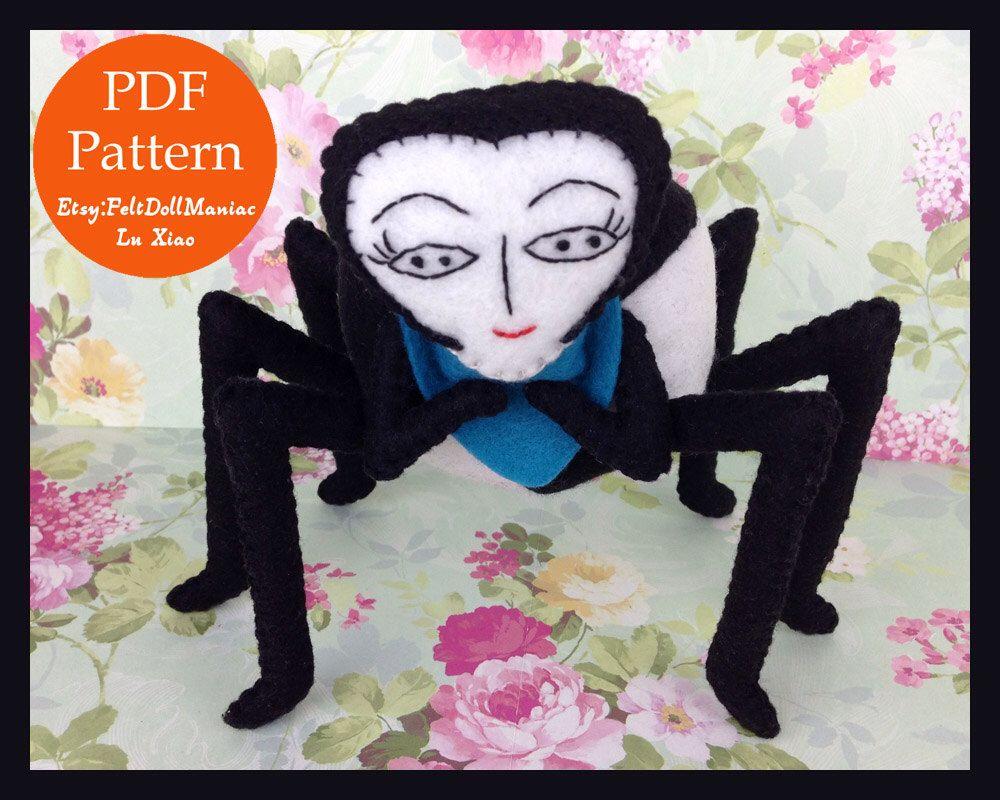 Miss Spider. Felt Doll. Felt pattern. PDF Pattern. Sewing pattern. Felt Crafts. Halloween pattern. Halloween Decoration.
