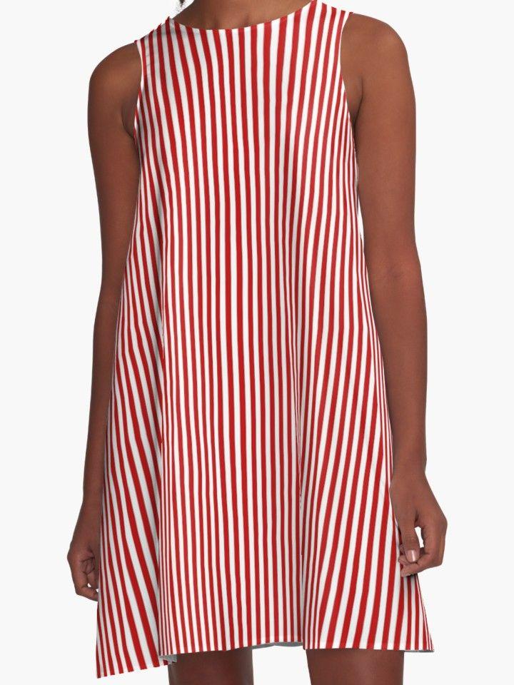 12e0176911e Thin Red and White Vertical Striped A-line dress  46