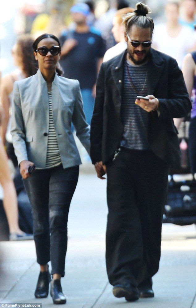 Zoe Saldana And Marco Perego Stay Close For A Walk In