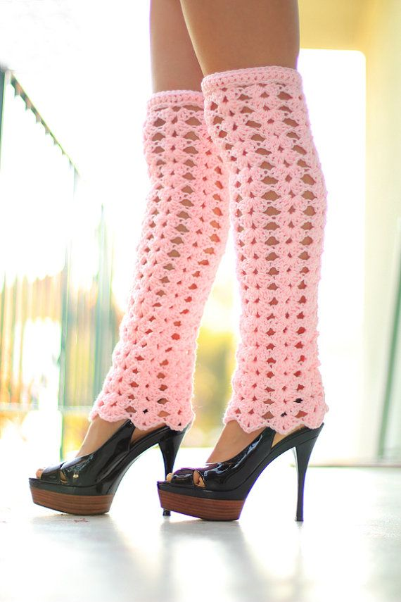 Lacy Leg Warmers - Thigh High Pastel Pink Leggings by Mademoiselle ...
