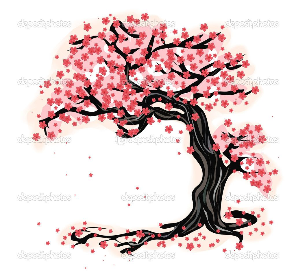 10 Stock Vector C Asichka 1686073 Tree Illustration Free Vector Art Cherry Blossom Tattoo