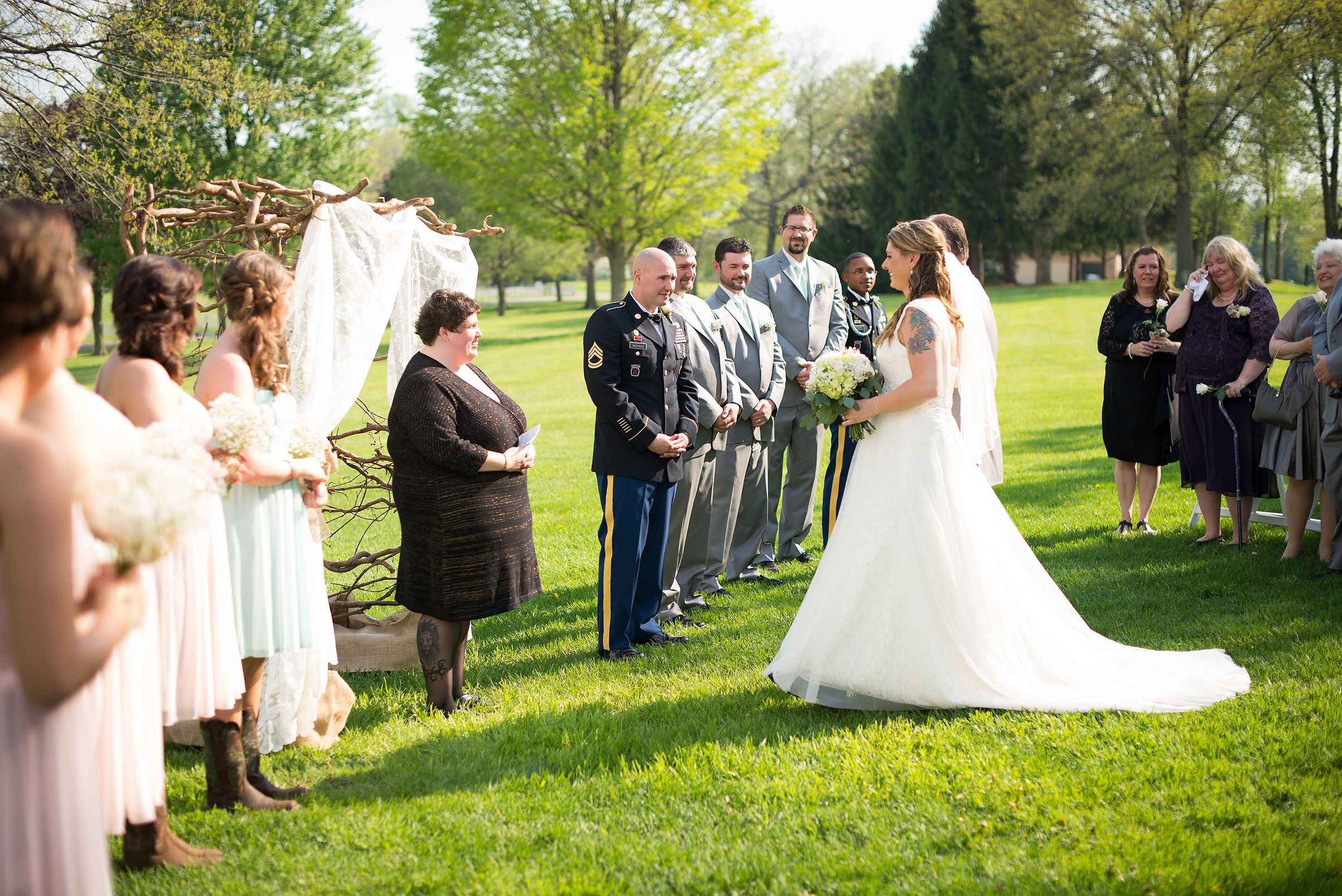 Outdoor ceremony simple vintage inspired wedding Brookside
