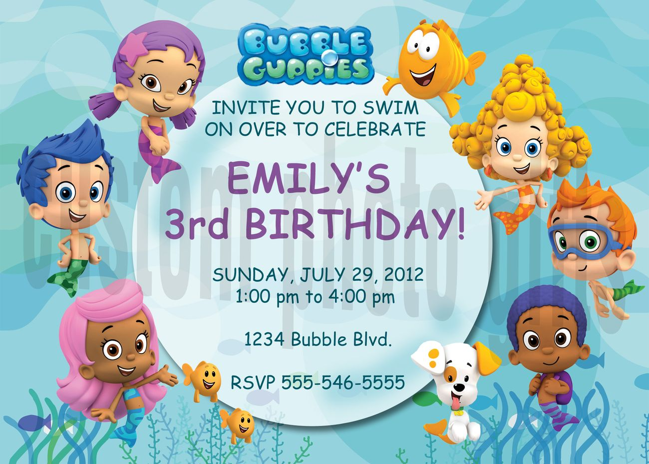 Free Printable Bubble Guppies Invitations  Party Invitations