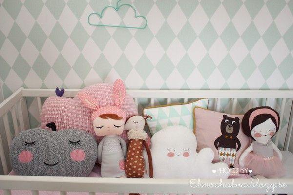 Ferm living wallpaper, dolls/pillows - bla bla kids, sirlig, maileg, ferm living, piggy hates panda /elinochalva.blogg.se