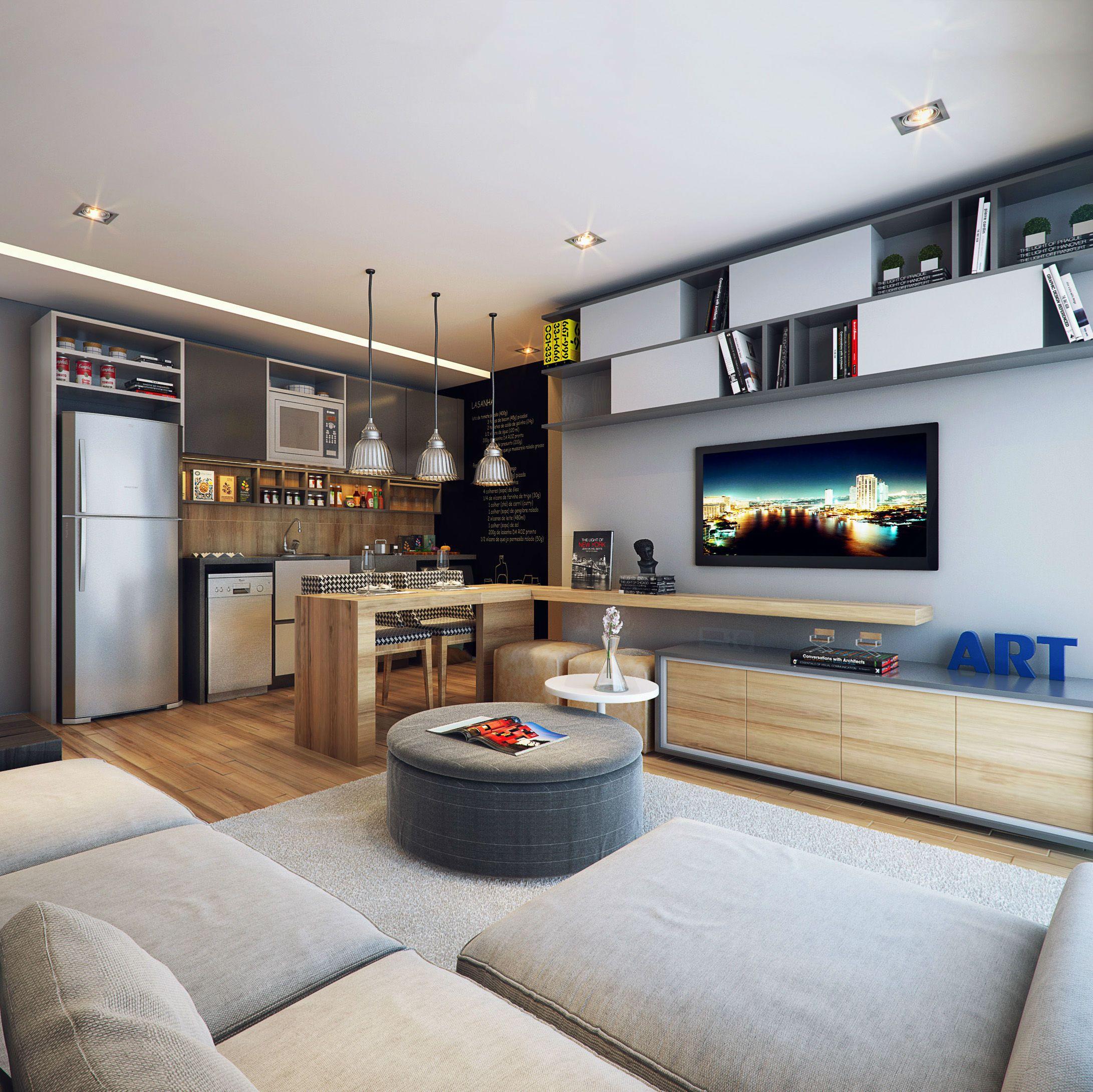 Decorado J Perdizes Sala Estar Jantar Living Room Dinning  -> Sala De Estar Decorada Para Apartamento Pequeno