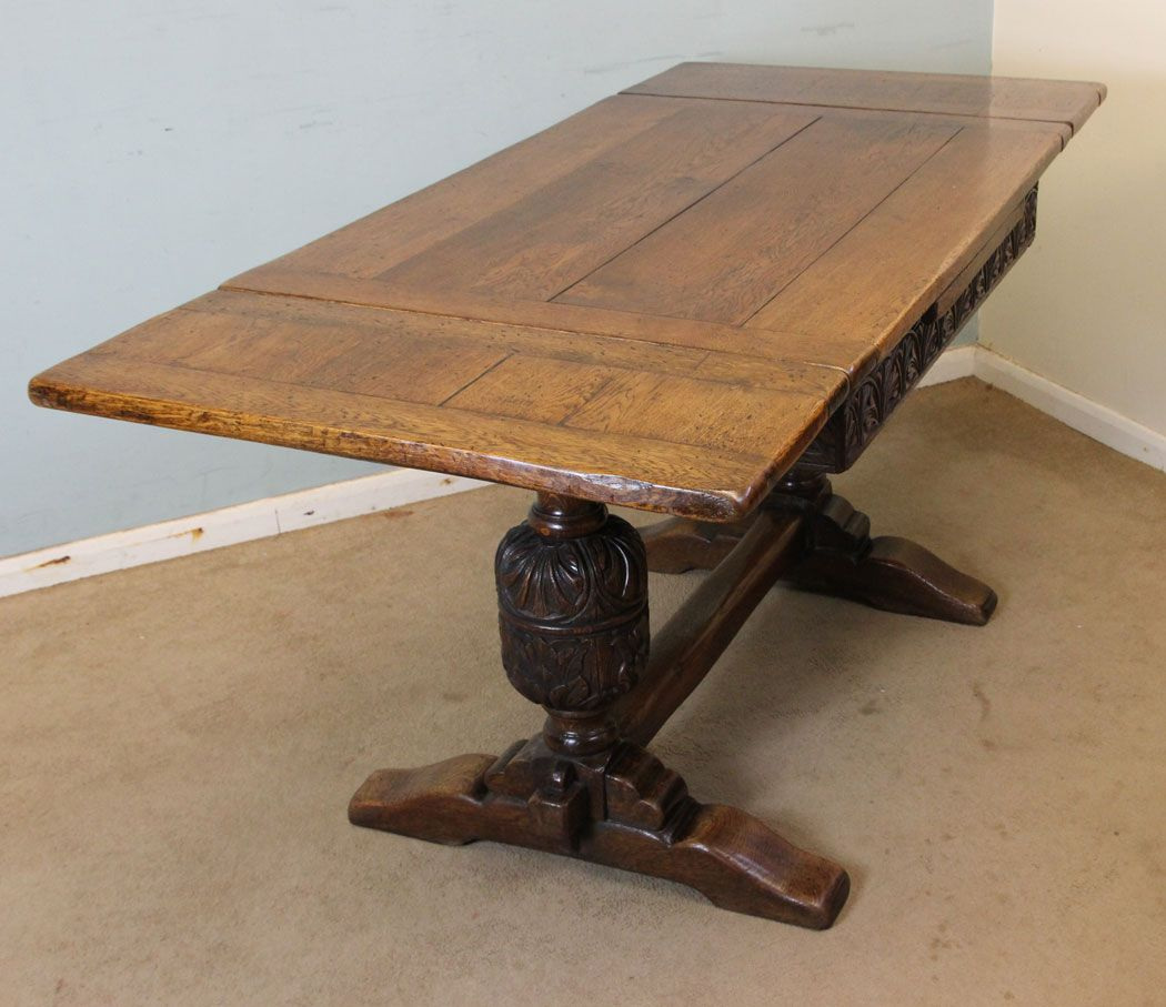Antique Draw Leaf Table. This Country Oak Draw Leaf, Refectory Farmhouse  Dining Table, Has A Solid Oak Plank Top With A Lovely Carved Oak Skirt  Under, ...