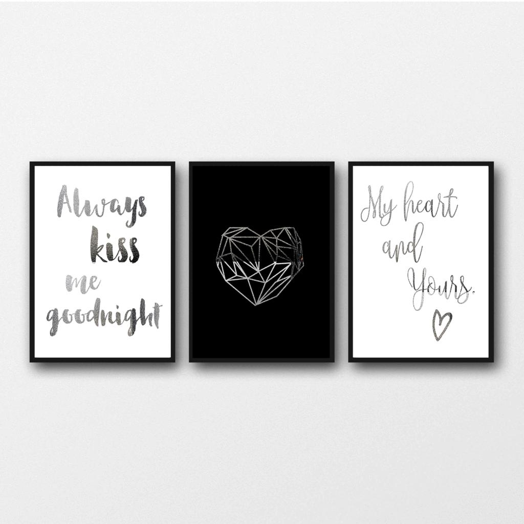 geometric heart art Set of 3 Prints Inspirational Copper Foil Quote Posters