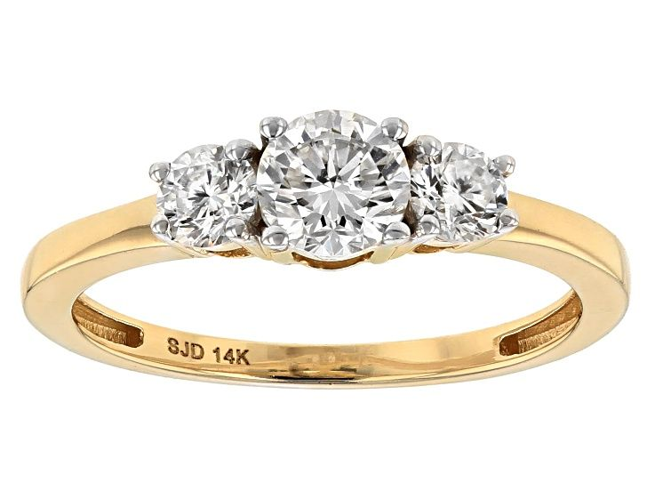 Moissanite Fire 82ctw Diamond Equivalent Weight Round 14k Yellow Gold Ring Msj346 In 2020 Yellow Gold Rings Classic Bridal Ring Set Gold Rings