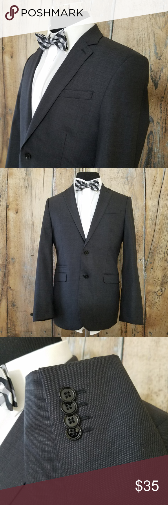 b00aeaebc28 Express Fitted Sport Coat Mens 40 R Wool Gray Good Used Condition Express  Fitted Dark Gray Sport Coat 2 Button Jacket Size  40 Regular Measurements  are ...