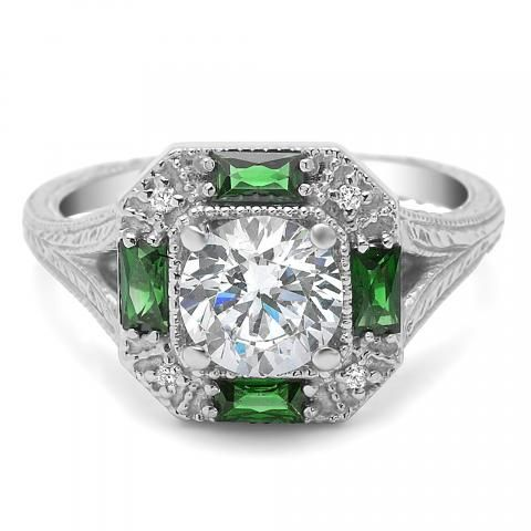 Diamond and Emerald Engagement Ring available at Houston Jewelry!