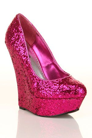 ec3bb774d20d hot pink glitter wedges! My pop of color for my wedding day!