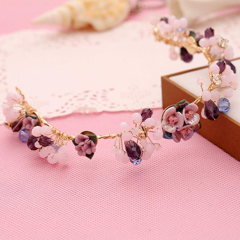Women Skull Suppliers Purple Flower Hair Jewelry Popular Handmade Pearl Tiaras Soft Headband Fashion Crown Bridal Wedding Accessories Headpiece