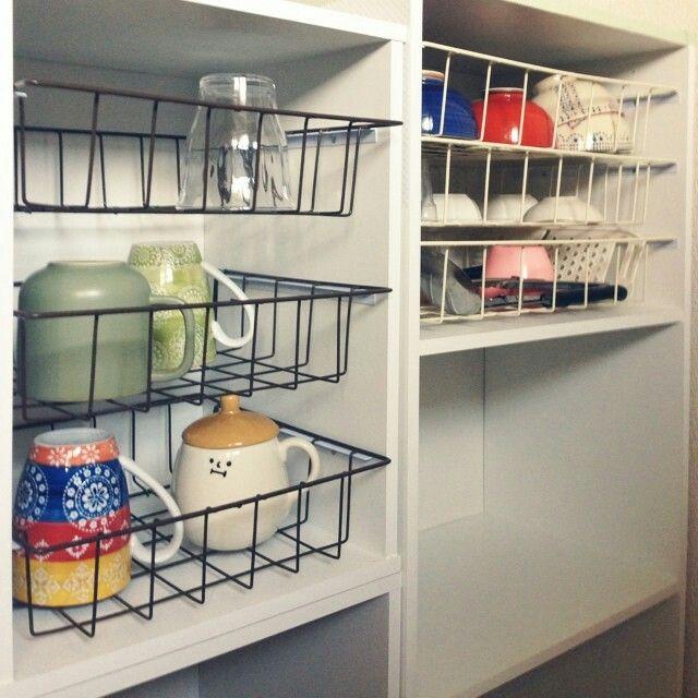 100均ワイヤーバスケット カラーボックス キッチン収納家具