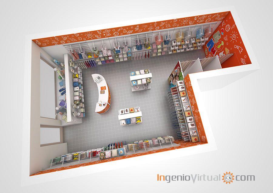 d7de4330 Infografia 3D proyecto equipamiento comercial tienda ropa niños vista aérea
