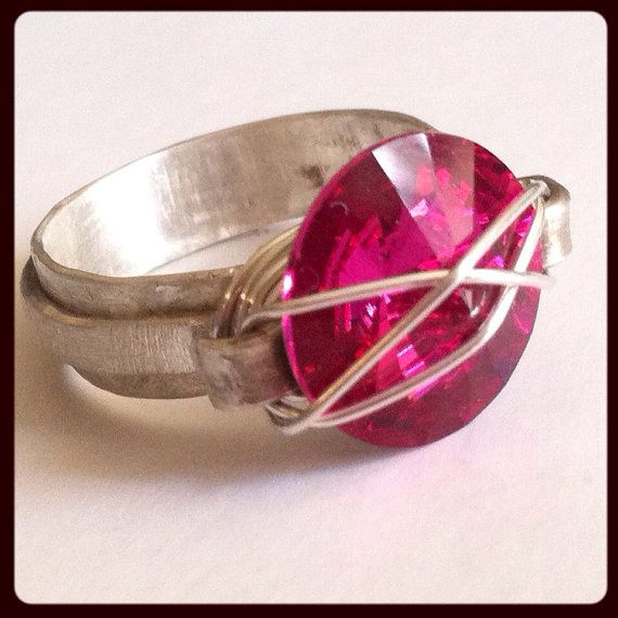 Fuschia Statement ring, hot pink swarovski stone, handmade Ooak sterling silver unique ring, pink statement ring, fuschia ring