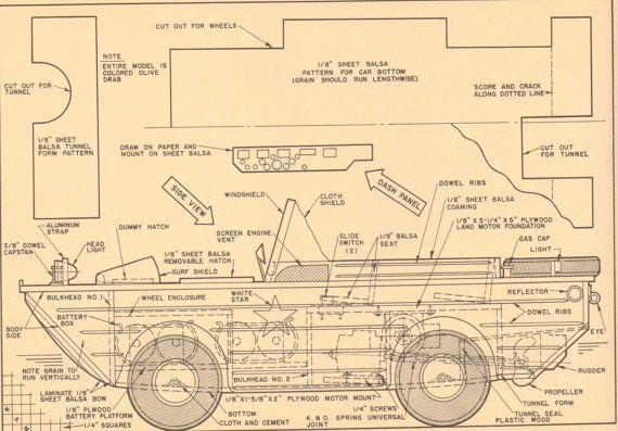Vintage Model Car Plans in Black and Sepia. Amphibious Jeep. Set of ...