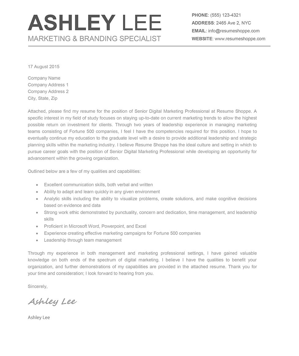 26+ Creative Cover Letters . Creative Cover Letters The Ashley Cover ...