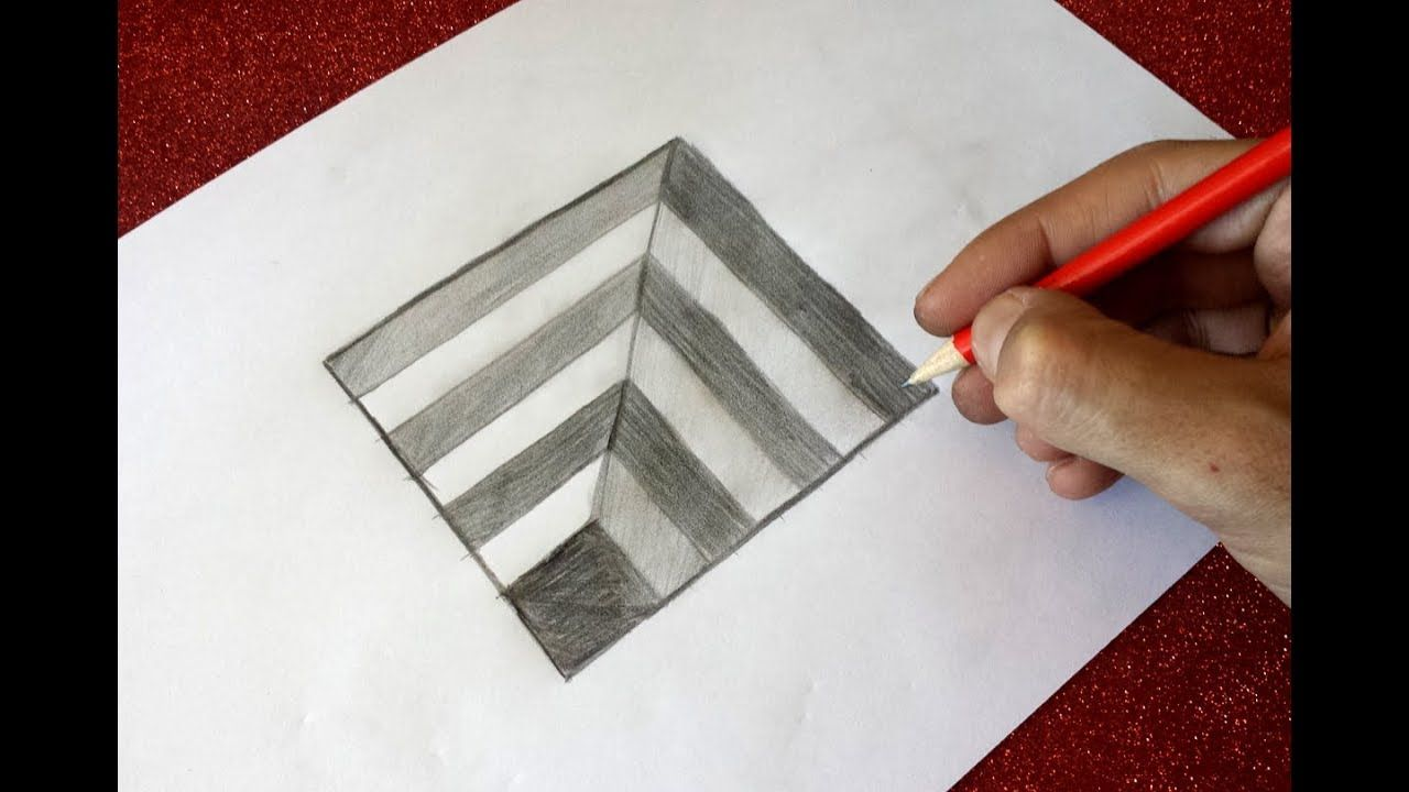 How To Drawing 3d Hole Optical Illusion Step By Step For Kids