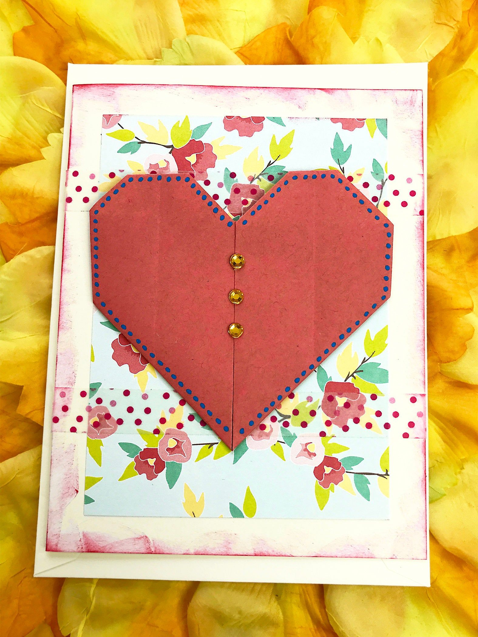 red origami heart greeting card love mother wife