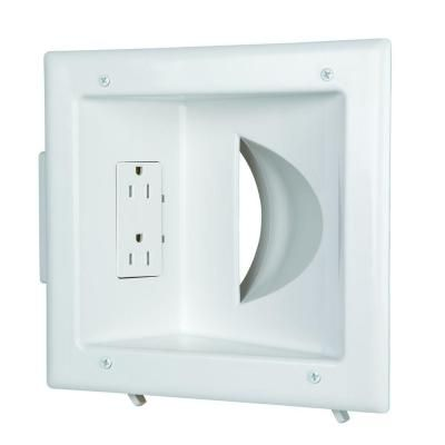 Commercial Electric White 1 Gang 1 Decorator Rocker 1 Duplex Cable Pass Through Wall Plate 1 Pack In 2020 Plates On Wall Flat Panel Tv Commercial Electric