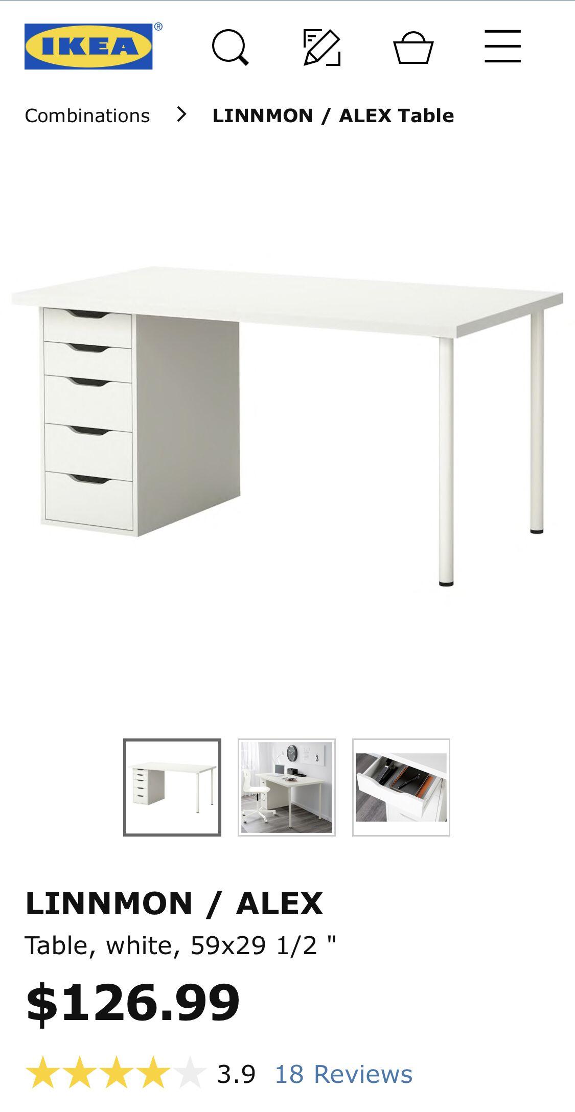 """LINNMON / ALEX Table, white, 59x29 1/2"""" - IKEA"""