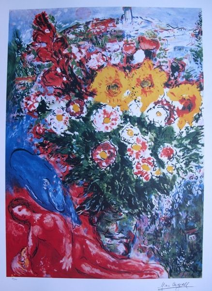 marc chagall lithographs | Marc Chagall LES SOUCIS Limited Ed. Lithograph