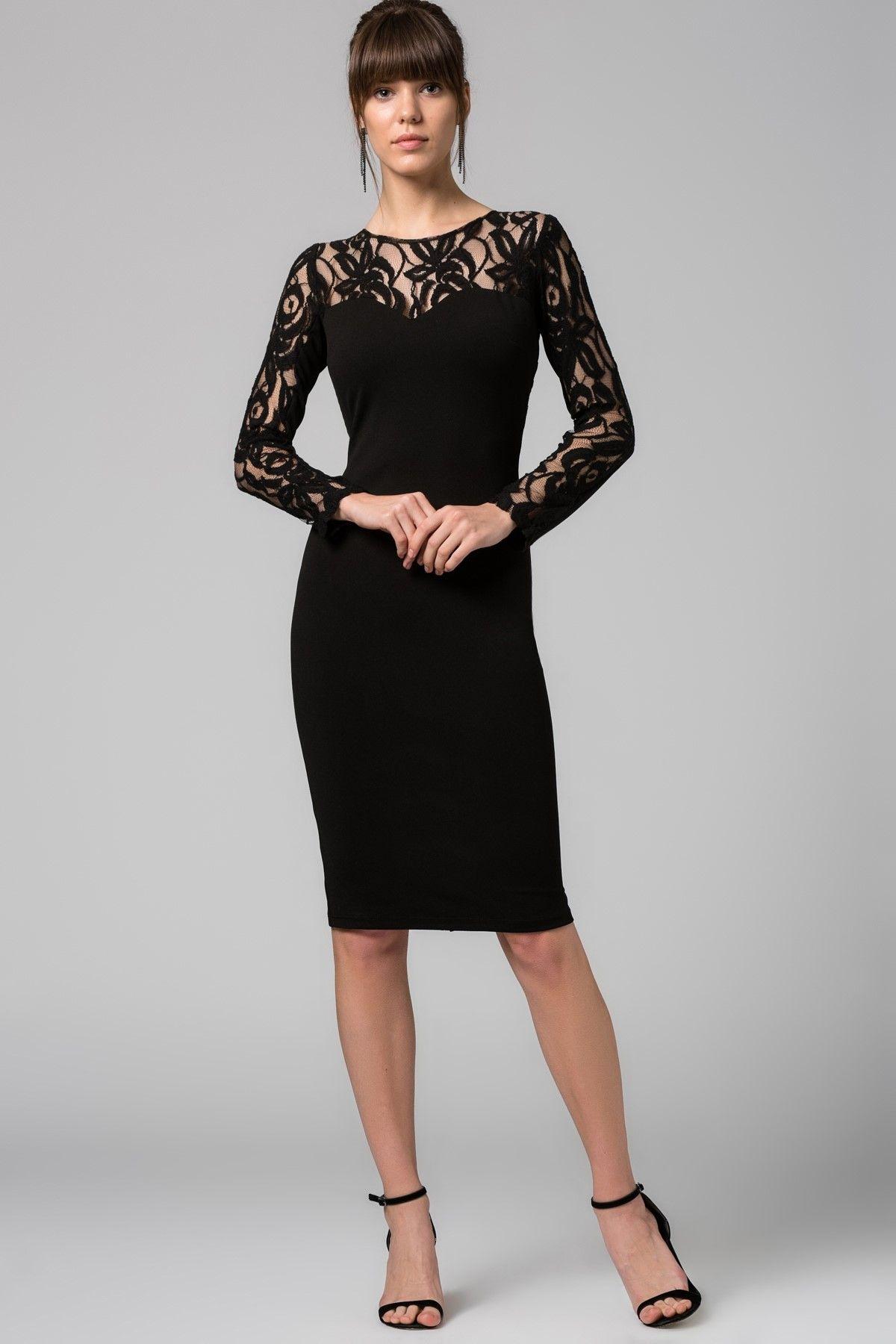 Dantel Uzeri Nakis Detayli Siyah Elbise Mlwss16fz1268 Siyah Dantel Elbiseler Elbise Siyah Elbise