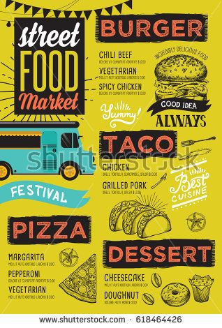 Street food festival menu Design template with hand-drawn graphic - menu design template
