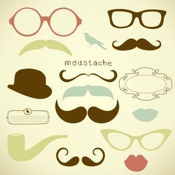 Retro Party set - Sunglasses, lips, mustaches Download: http://vectorstate.com/?refcode=gdj