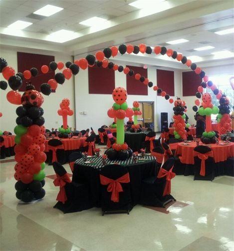 Ladybug party balloon decorations by ambassadorsweets