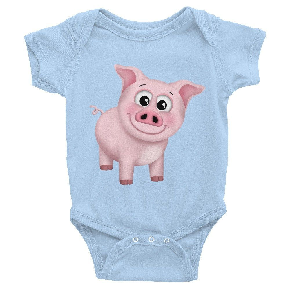 Happy Pink Pig - Infant short sleeve one-piece