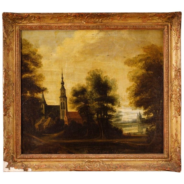 21af02aa8536 Framed country french Oil Painting of classic landscape in antique gold  frame in 2019