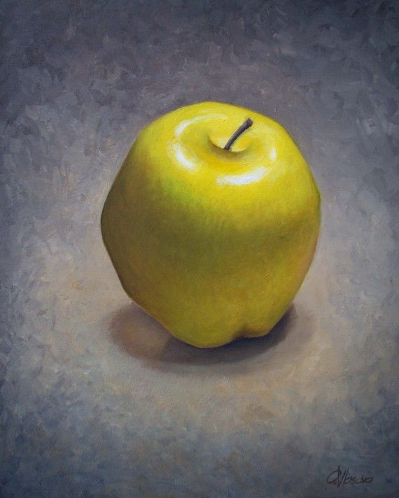 Apple still life Art Print, Yellow Chartreause apple oil painting ...