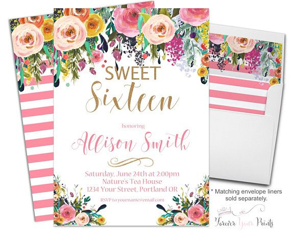 Girls FLORAL Sweet 16 Invitation Girls 16th Birthday Invitation