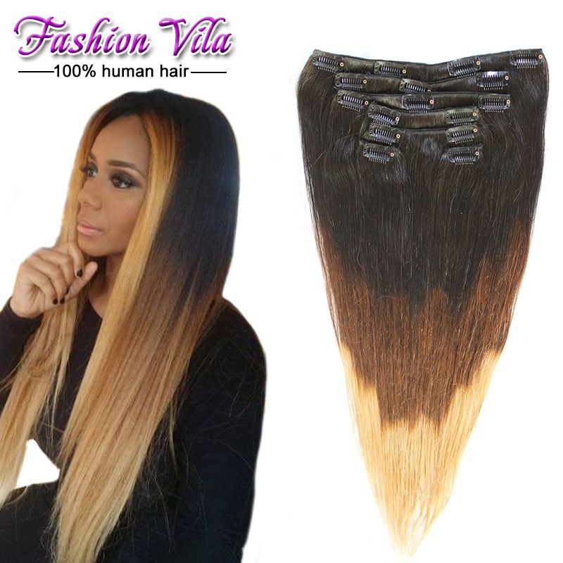Brazilian Straight Hair Clip In Hair Extensions 100g7pcsset T1b4