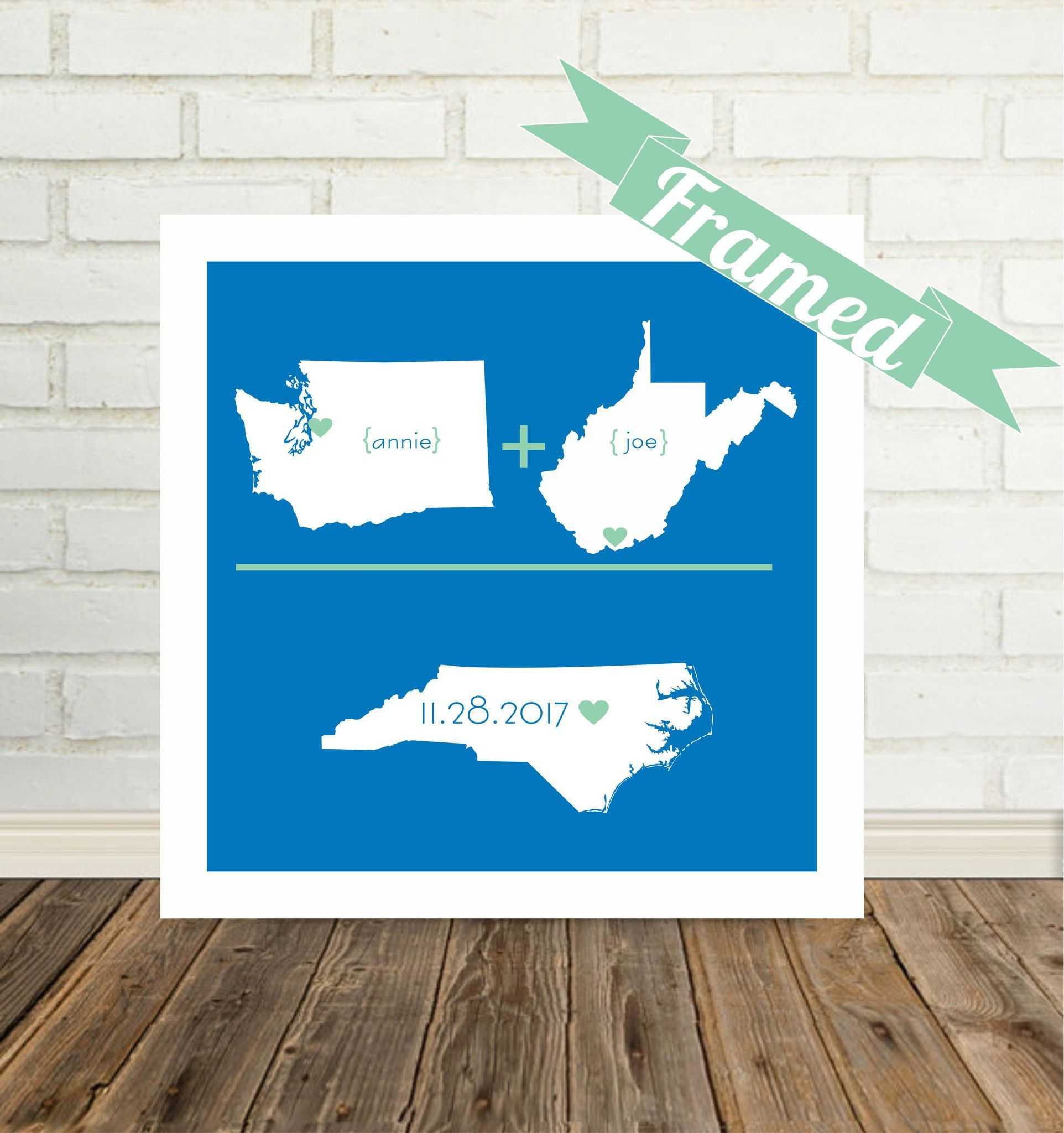Custom Wedding Gift Personalized State Map Art Love Arithmetic Print