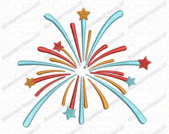 Fireworks Embroidery Design in 2x2 3x3 4x4 and 5x7 Sizes