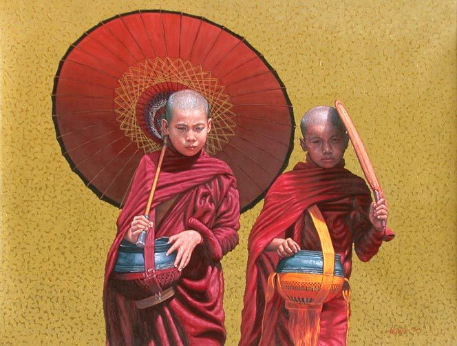 Two Novices by Aung Kyaw Htet - oil on canvas