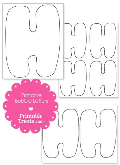 Printable Bubble Letter H Template from PrintableTreats