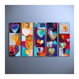 colorful hearts oil painting