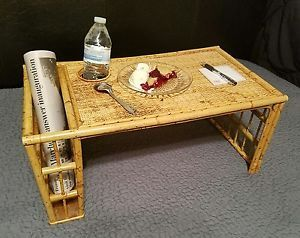 Bamboo Wicker Tray Cup Newspaper Holder Breakfast In Bed Rattan