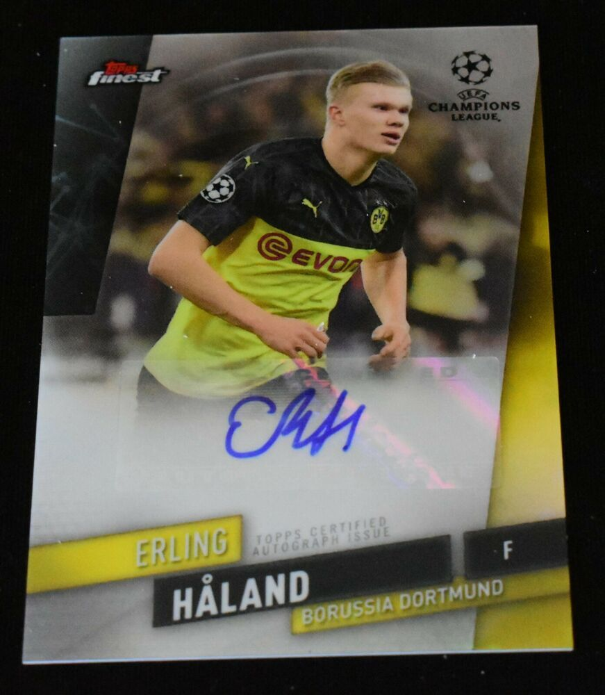 Erling Haaland Autograph 2020 Topps Finest Uefa Champions League Rc Auto Ssp Borussiadortmund In 2020 Christian Pulisic Soccer Cards Champions League