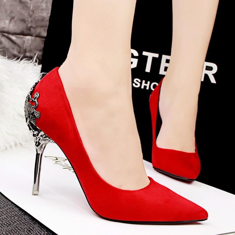 High Heels Shoes Women Pumps Red Gold