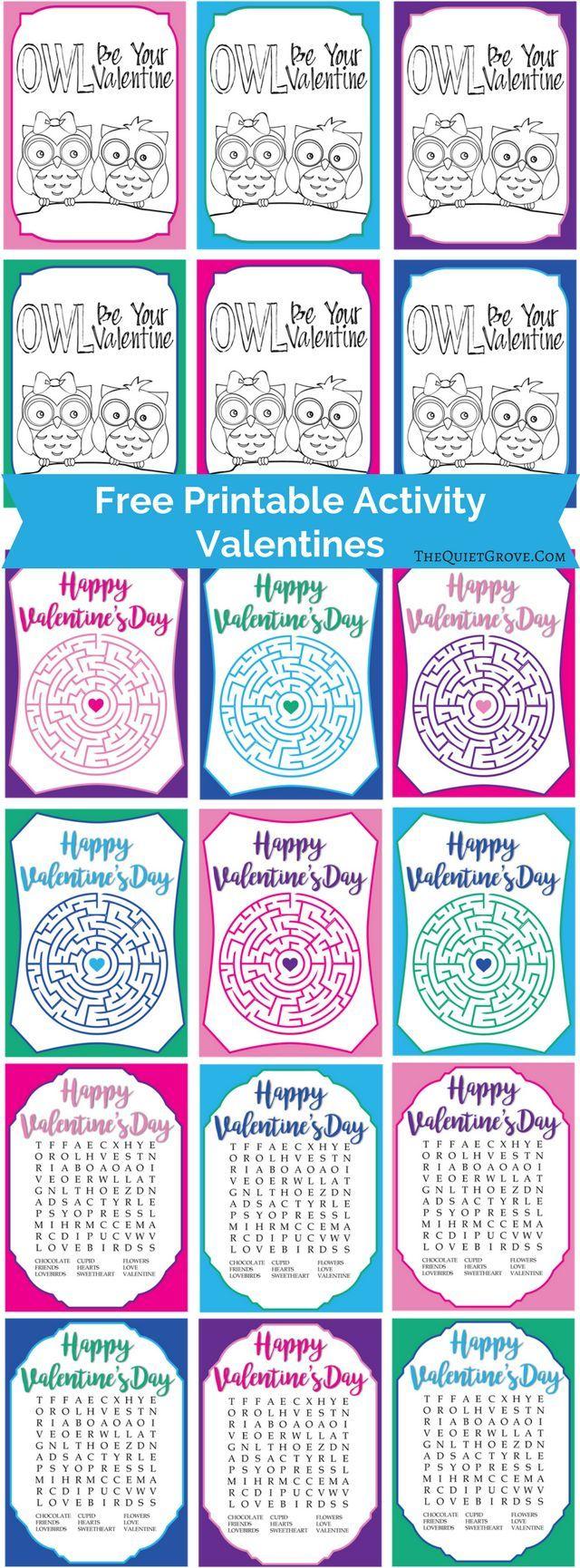 Free Printable Activity Valentines via @TheQuietGrove | VALENTINES ...